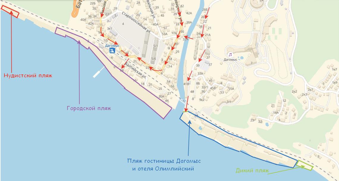 Расположение пляжей Дагомыса