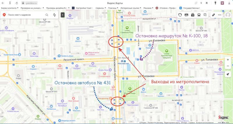 Расположение автобусных остановок